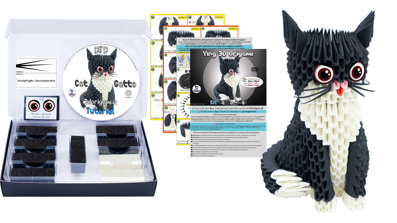 Il Kit Gatto Nero Questo Bellissimo Origami 3D E Composto Da 634 Cartoncini Pre Segnati Per Una Facile Veloce Piegatura Occhi Baffi Di